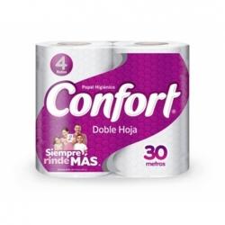 Papel Higienico 30 mts. 4 unidades doble hoja Confort