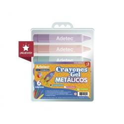 Crayones Gel Metálicos 6 colores Adetec