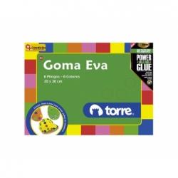 Carpeta Goma Eva Perforada 6 pliegos 6 colores 6 pat. 20 x 30 cm. Torre