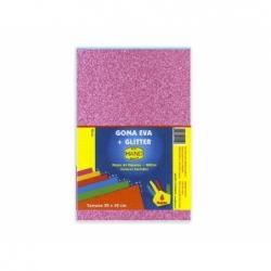 Goma Eva Glitter 20 x 30 cm 10 unidades rosado Hand