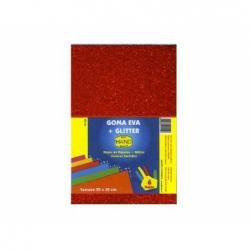 Goma Eva Glitter 20 x 30 cm 10 unidades rojo Hand