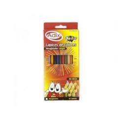 Lápices de Colores Largos Hexagonales 12 unidades Adix