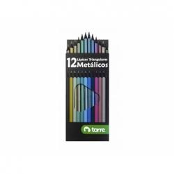 Lápices de Colores Metálicos 12 unidades Torre
