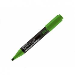 Marcador permanente recargable punta biselada verde Monami.