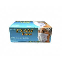 Mascarilla con Elástico 3 pliegues 50 unidades ExamCare