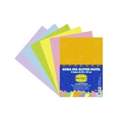 Estuche Goma Eva Glitter 6 colores pasteles surtidos Hand