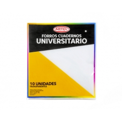 Forro Cuaderno Universitario Transparente 10 und. Artel