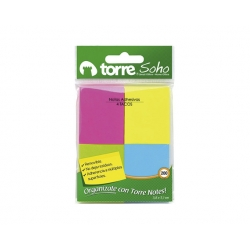 Notas adhesivas Notes 51x38mm. 4und. 200Hojas Neon Torre