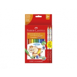Lápices de Colores 12+2 Triangulas Jumbo Faber Castell