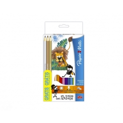 Lápices de Color largos 12und + 3 color metal Paper Mate