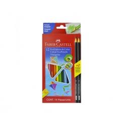 Lápices de colores 12 und. Triangulares +2 Grafitos Faber Castell
