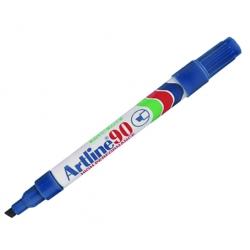 Marcador Permanente Recargable 90 azul P/Biselada Artline