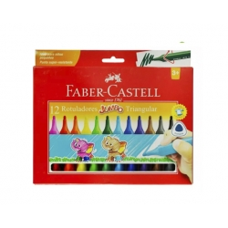 Marcadores Jumbo 12 Colores Triangular Faber Castell