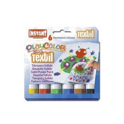 Tempera Solida Textil Playcolor 6 colores Instant