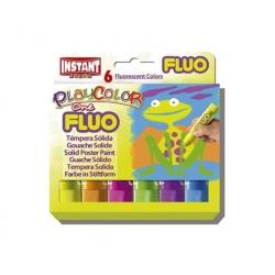 Tempera Solida Fluorescent Playcolor 6 colores Instant