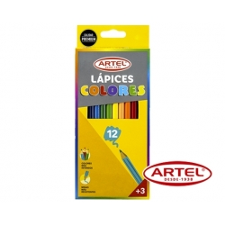 Lápices de colores (Largos) 12 unidades Artel